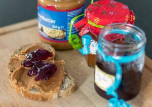 Peanut butter and jam on toast